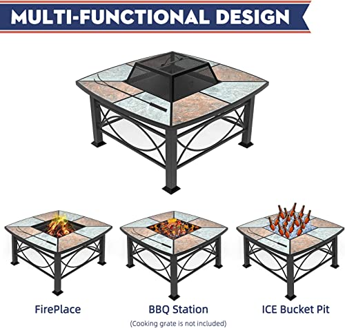 Mecor Outdoor Square Fire Pit/Fireplace