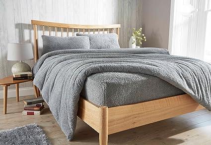 Lifestyle Production ® New Super Soft Teddy Fleece Duvet Quilt Cover Set With Pillowcase,Warm Cosy set Duvets & Duvet Covers Double, White Duvet Covers