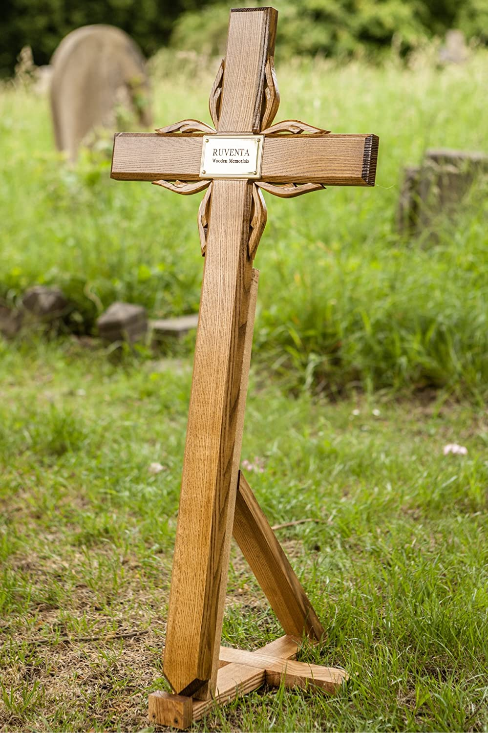 40 Solid Oak Wooden Cross Memorial Grave Marker With Personalised Plaque