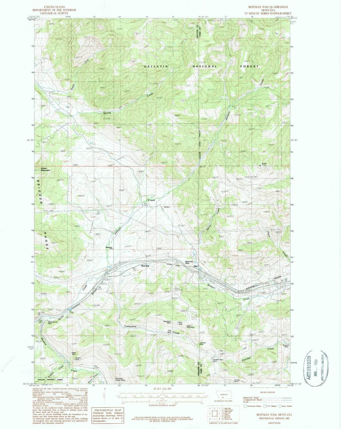 1987 7.5 X 7.5 Minute 26.8 x 22 in Updated 1987 Historical 1:24000 Scale YellowMaps Bozeman Pass MT topo map