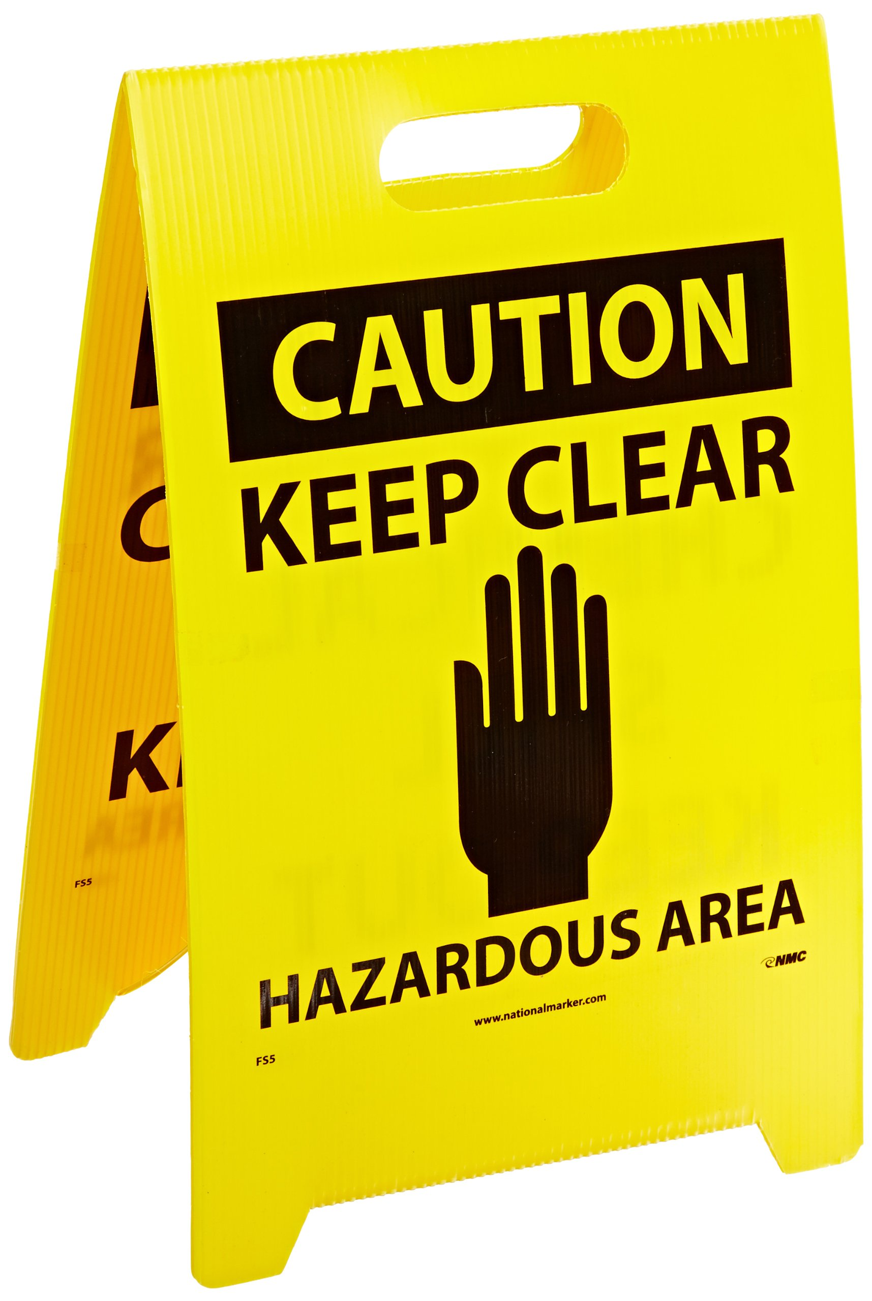 NMC FS5 Double Sided Floor Sign, Legend ''CAUTION - CHEMICAL SPILL KEEP OUT KEEP CLEAR HAZARDOUS AREA'', 12'' Length x 20'' Height, Coroplast, Black on Yellow