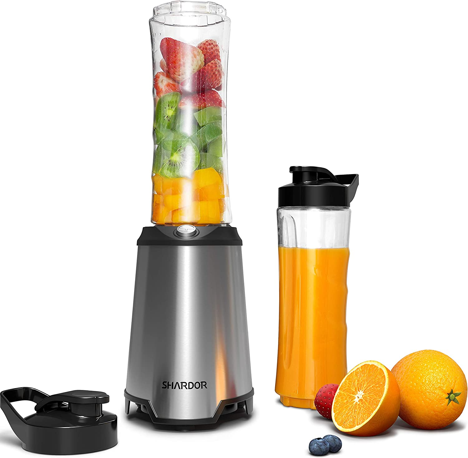 SHARDOR Personal Blender, Smoothie Blender with 2 BPA-Free Portable 20oz Travel Cups, Single Serve Blender for Shakes and Smoothies, 300W, Silver