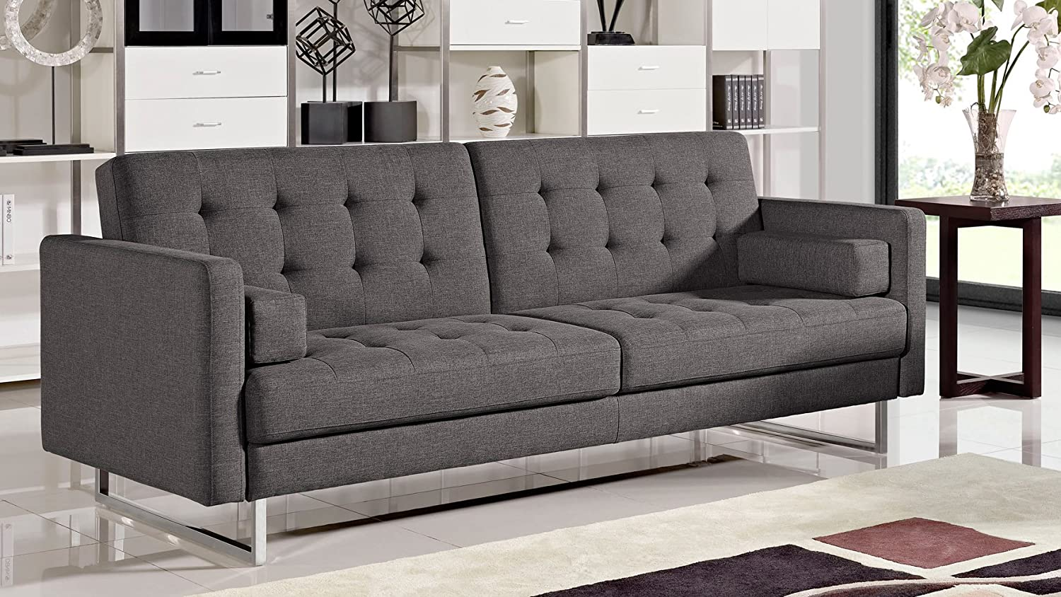 Amazon.com: Zuri Furniture Beta Fabric Sofa Bed with ...