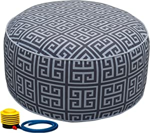 Kozyard Inflatable Stool Ottoman Used for Indoor or Outdoor, Kids or Adults, Camping or Home (Abstract Square)