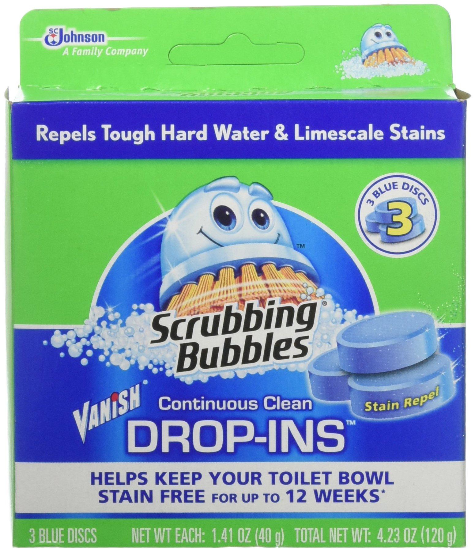 Scrubbing Bubbles Continuous Clean Drop-Ins, Blue Discs, 3 ct, 4.23 oz (Pack of 6) by Scrubbing Bubbles