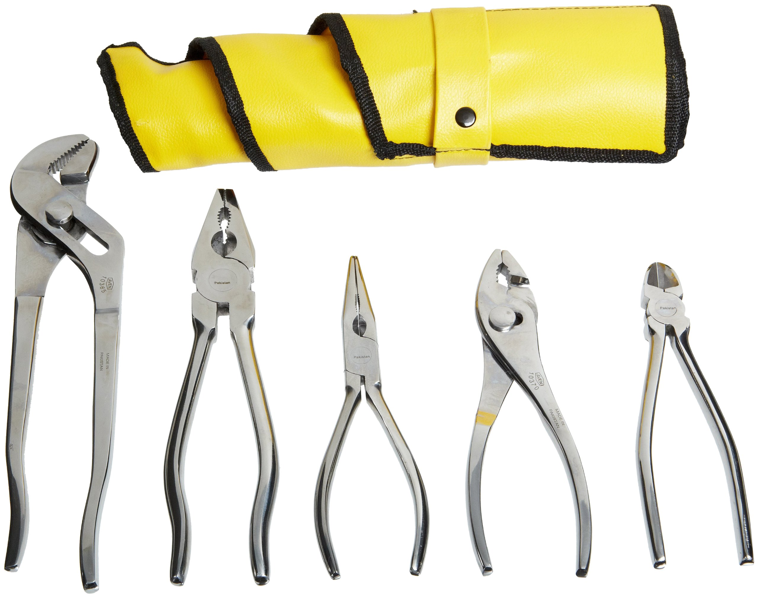 Aven 10381 Stainless Steel Pliers Set, 5-piece In Roll Up Pouch by Aven