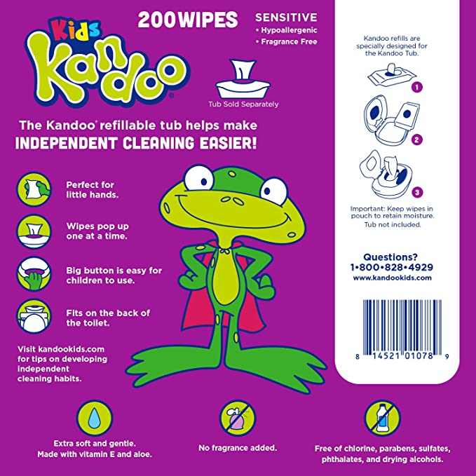 Kandoo Flushable Sensitive Wipes 200 Count Refills by Pampers: Amazon.es: Salud y cuidado personal