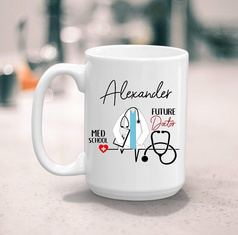 N\A Taza de café del Futuro Doctor del Estudiante de Medicina, Regalo de la Escuela médica, Regalo del Futuro Doctor, Nombre Personalizado