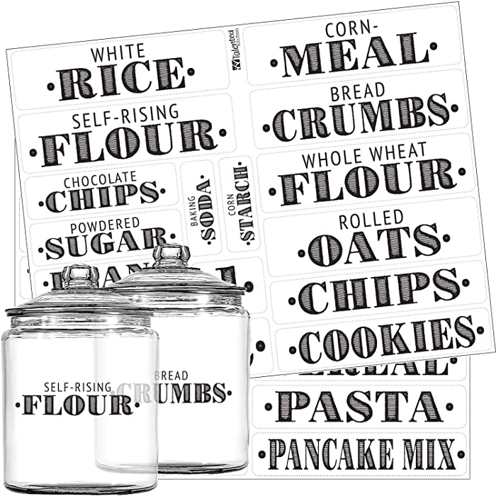 Pantry Labels - 36 Preprinted Kitchen Labels Sticker Set by Talented Kitchen. Large, PVC Clear, Gloss, Water Resistant, Food & Spice Jar Labels for Pantry Organization and Storage (Set of 36 - Titles)