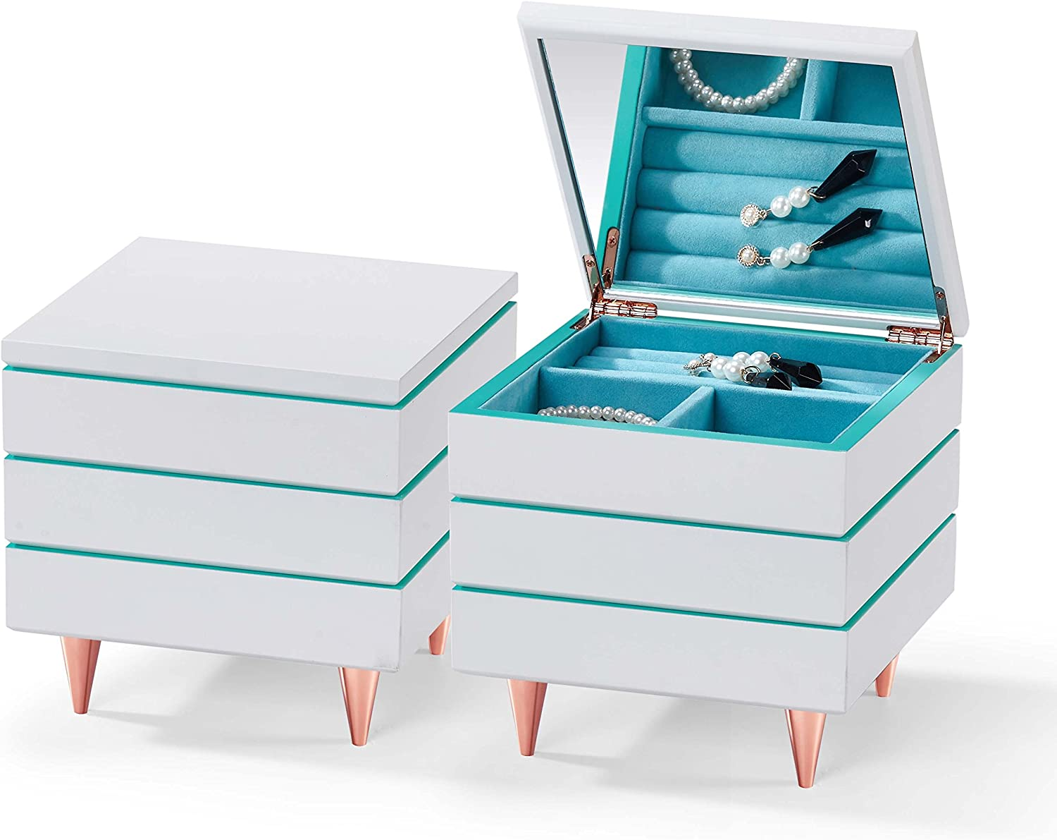 Small Great Gift for Valentines Day 3 Layers Mothers Day and Birthday Modern Style Stackable Wooden Jewelry Box