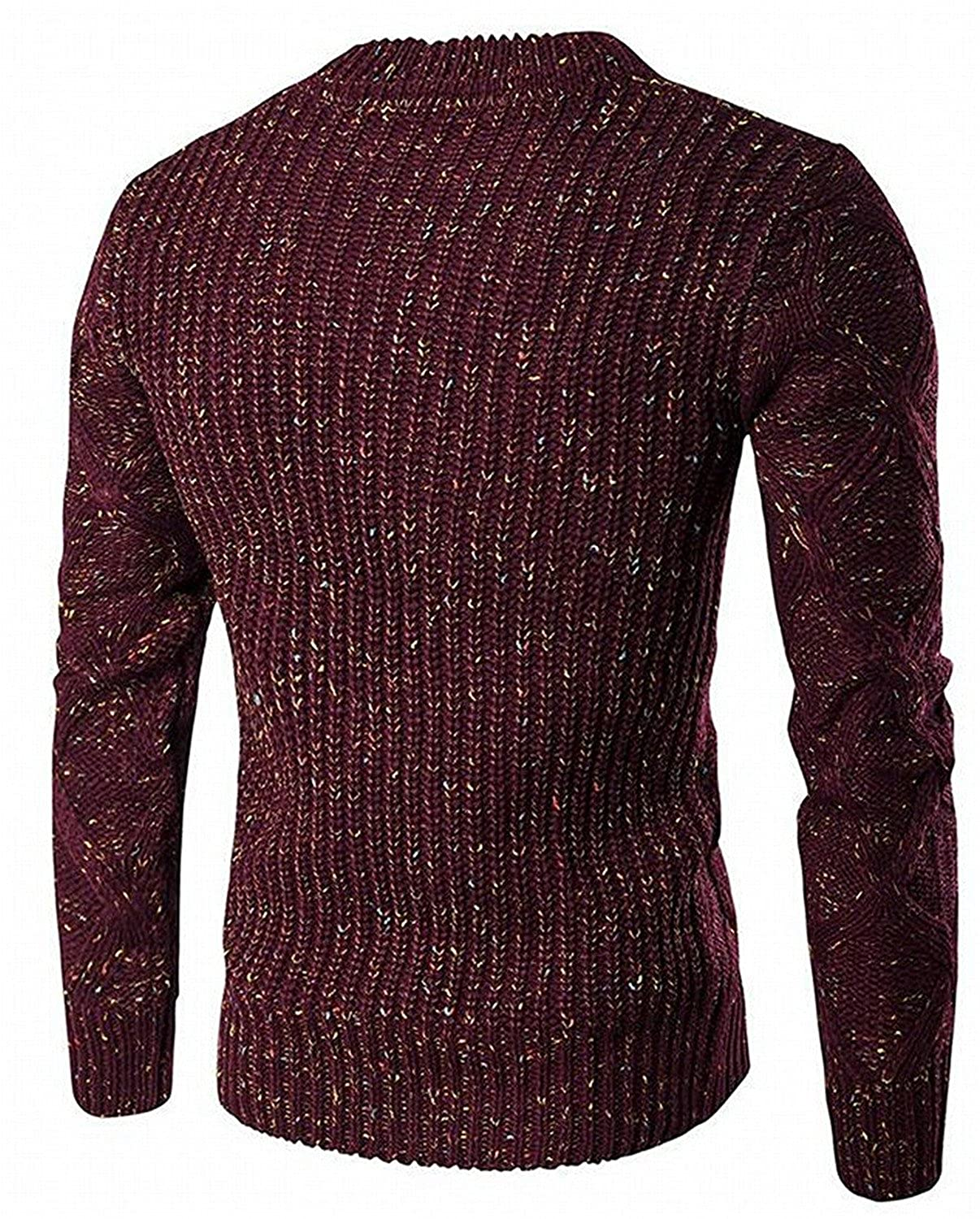 Kaured Stylist Mens Mixed Color Pullover Cable-Knit Sweater