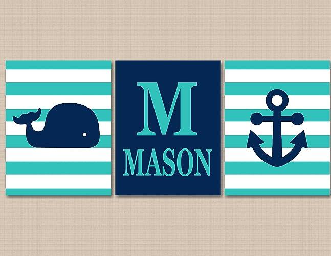 Amazon.com: Nautical Nursery Décor,Whale Nursery Wall Art,Navy Aqua ...