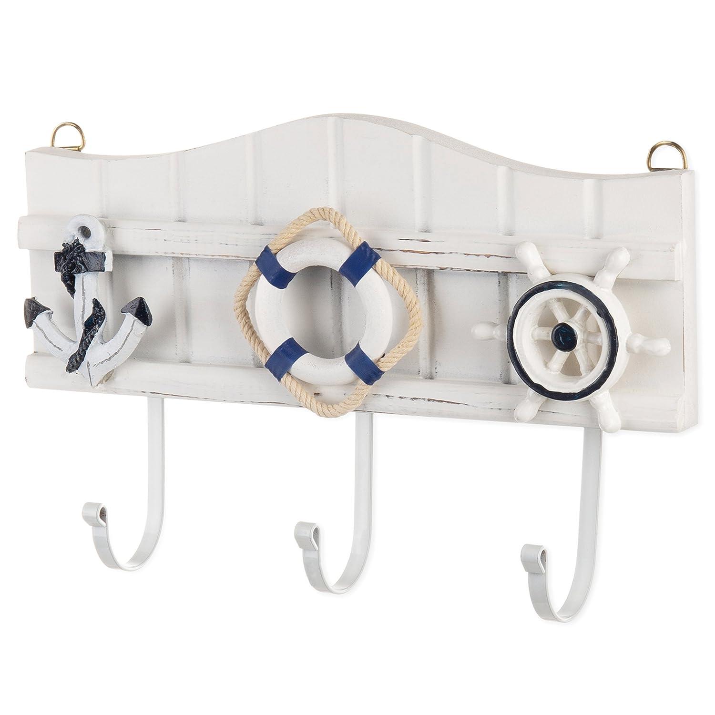 MyGift 3-Hook Wall-Mounted Nautical Wood /& Metal Coat Rack