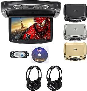 "Rockville RVD14BGB Black/Grey/Tan 14"" Flip Down Car DVD Monitor+Games+Headphones"