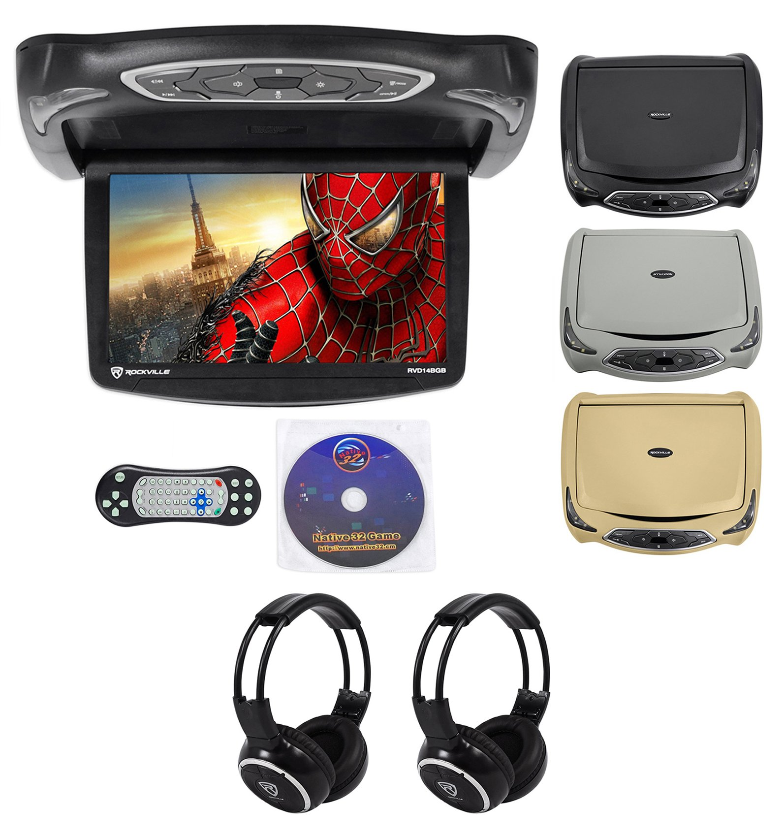 Rockville RVD14BGB Black/Grey/Tan 14'' Flip Down Car DVD Monitor+Games+Headphones by Rockville