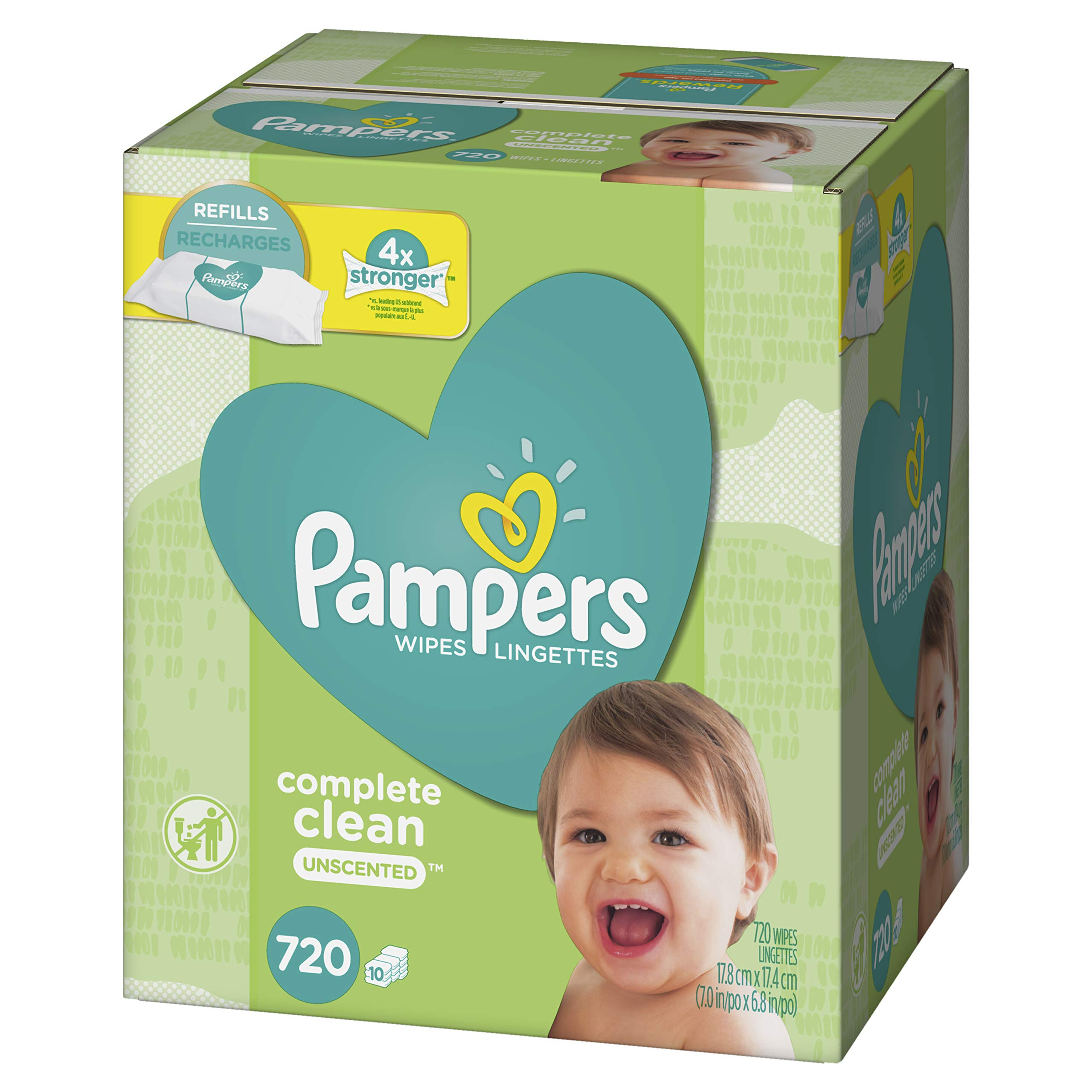 Baby Wipes, Pampers Sensitive Water Baby Diaper Wipes, Complete Clean Unscented, 10 Refill Packs for Dispenser Tub, 720 Total Wipes by Pampers