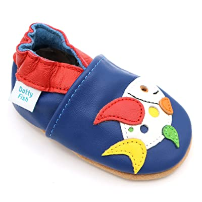 Dotty Fish Baby and Toddler Soft Leather Shoe with Suede Soles - Multicoloured Fish for Boys & Girls - 2-3 Years