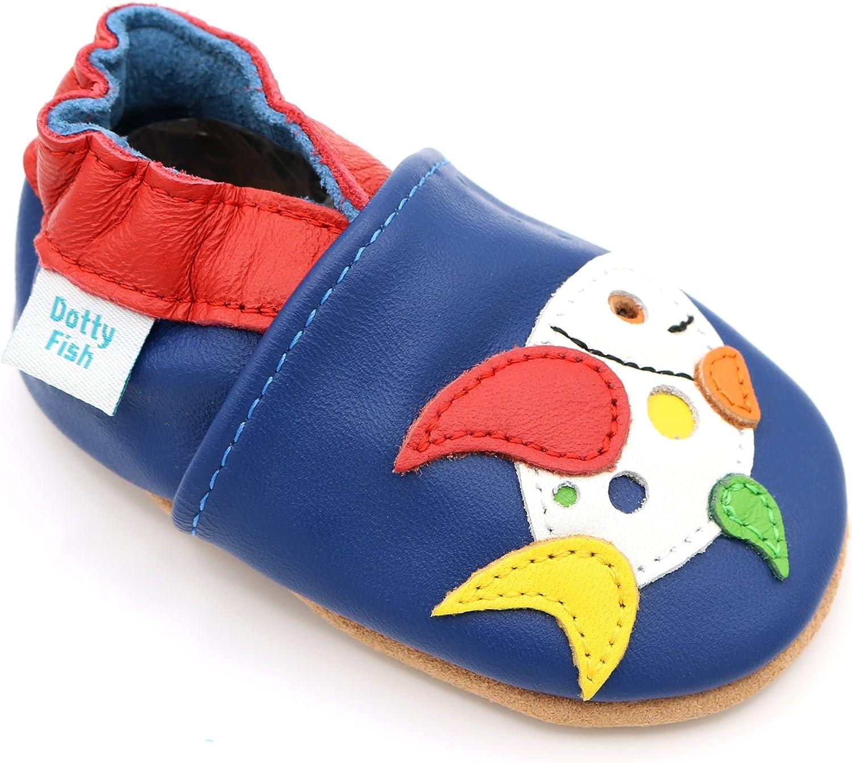 0-6 Mois Pantoufles pour gar/çons avec Voitures et Animaux. 4-5 Ans Dotty Fish Chaussures Cuir Souple b/éb/é et Bambin