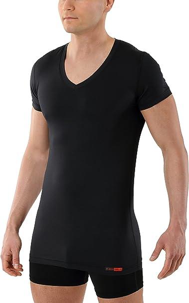 ALBERT KREUZ Camiseta Interior Negra para Hombre de Tejido técnico algodón-Coolmax® – antisudor, Piel Seca – de Manga Corta y Cuello de Pico: Amazon.es: Ropa y accesorios