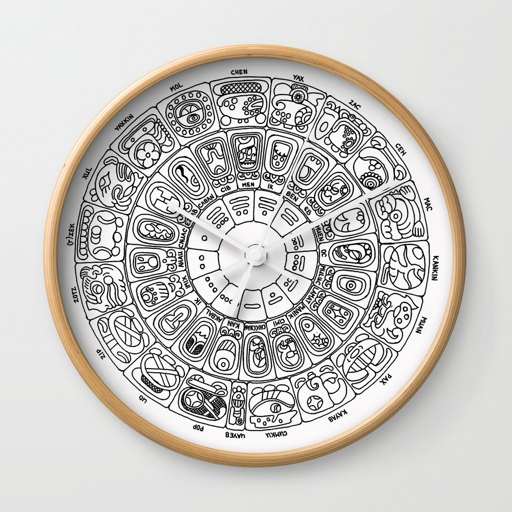 Amazon.com: Society6 Mayan Calendar Wall Clock White Frame, Black Hands: mantisgallery: Home & Kitchen