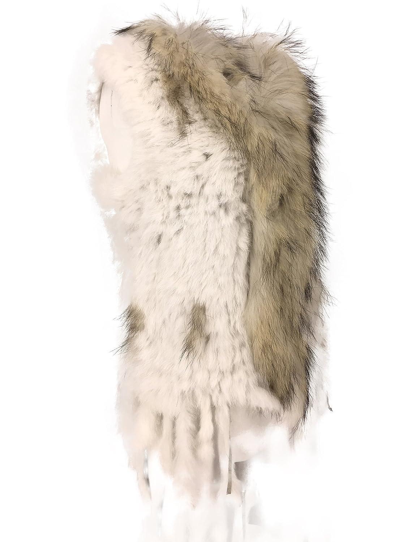 uilor 100 % Natural de la mujer Knit Chaleco con Pelo de mapache cuello de 4eecde1fe4d5