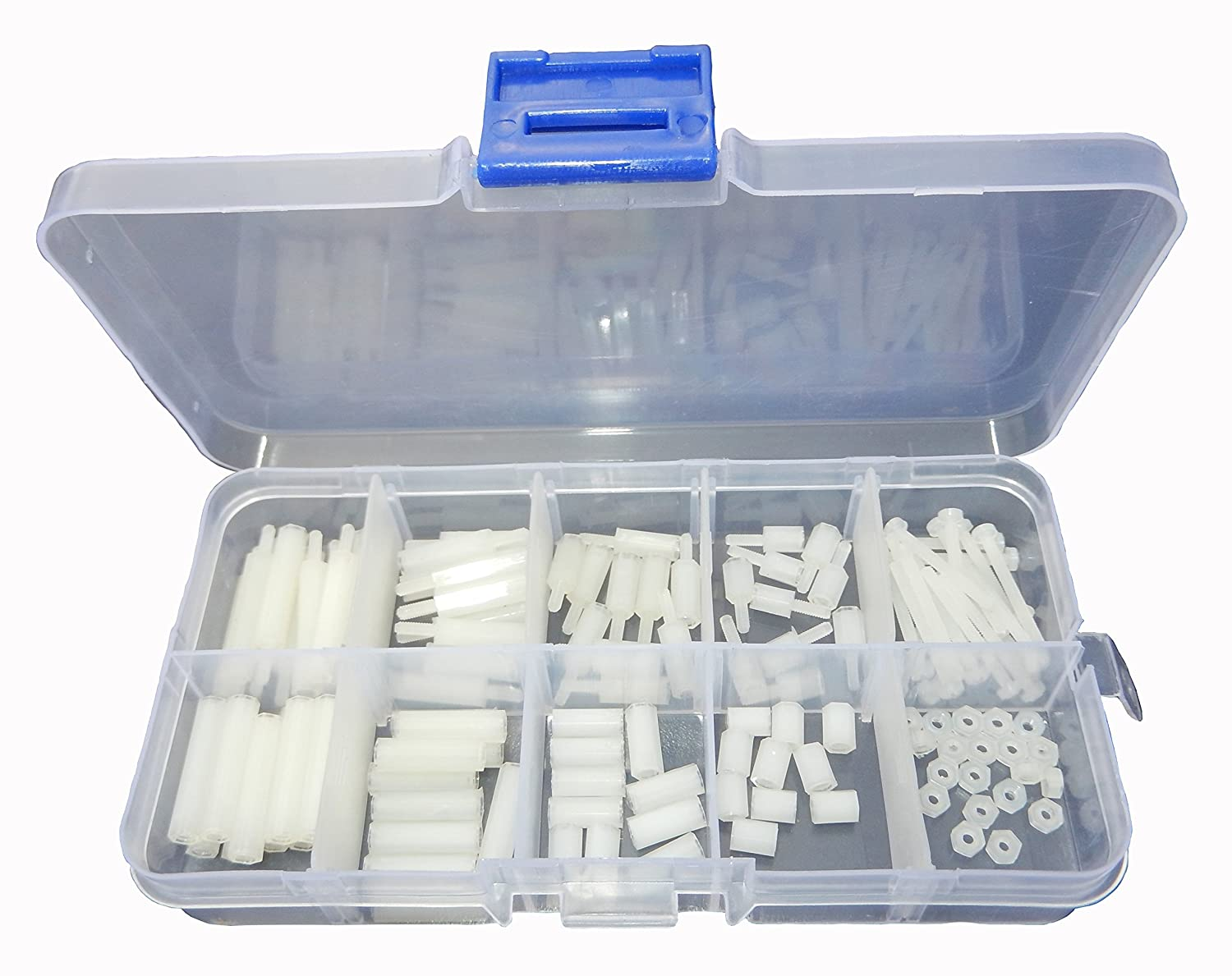 LU-CC 120Pcs M2 White Nylon Spacers Hex Nut Screw Stand-off Plastic Accesories Assortment Kit
