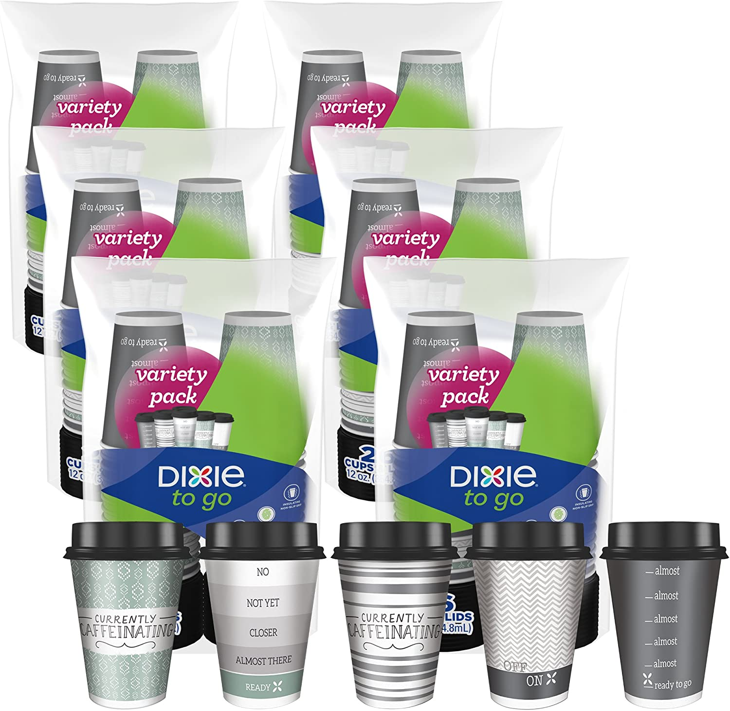 Dixie to Go Disposable Hot Beverage Paper Coffee Cups with Lids, 12 Oz, 156 Count, Assorted Designs, Gold (23710): Health & Personal Care