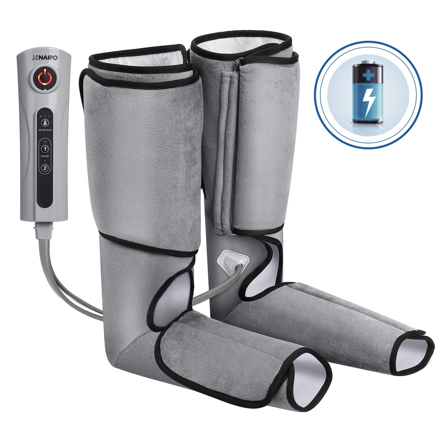 Naipo Leg Massager Air Compression Rechargeable Foot and Calf Massage Battery Operated Leg Wraps with 3 Intensity Levels 2 Modes Controller - Grey