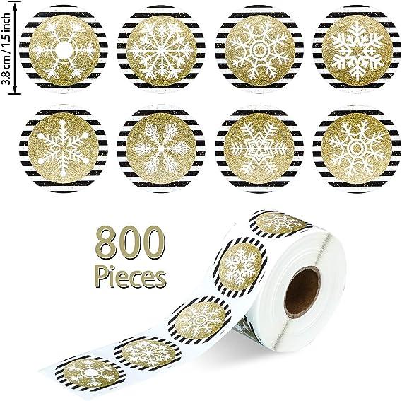 800 St/ück Weihnachten Schneeflocken Aufkleber Schwarz und Gold Weihnachten Aufkleber Runde Schneeflocken Aufkleber f/ür Weihnachten Dekorationen