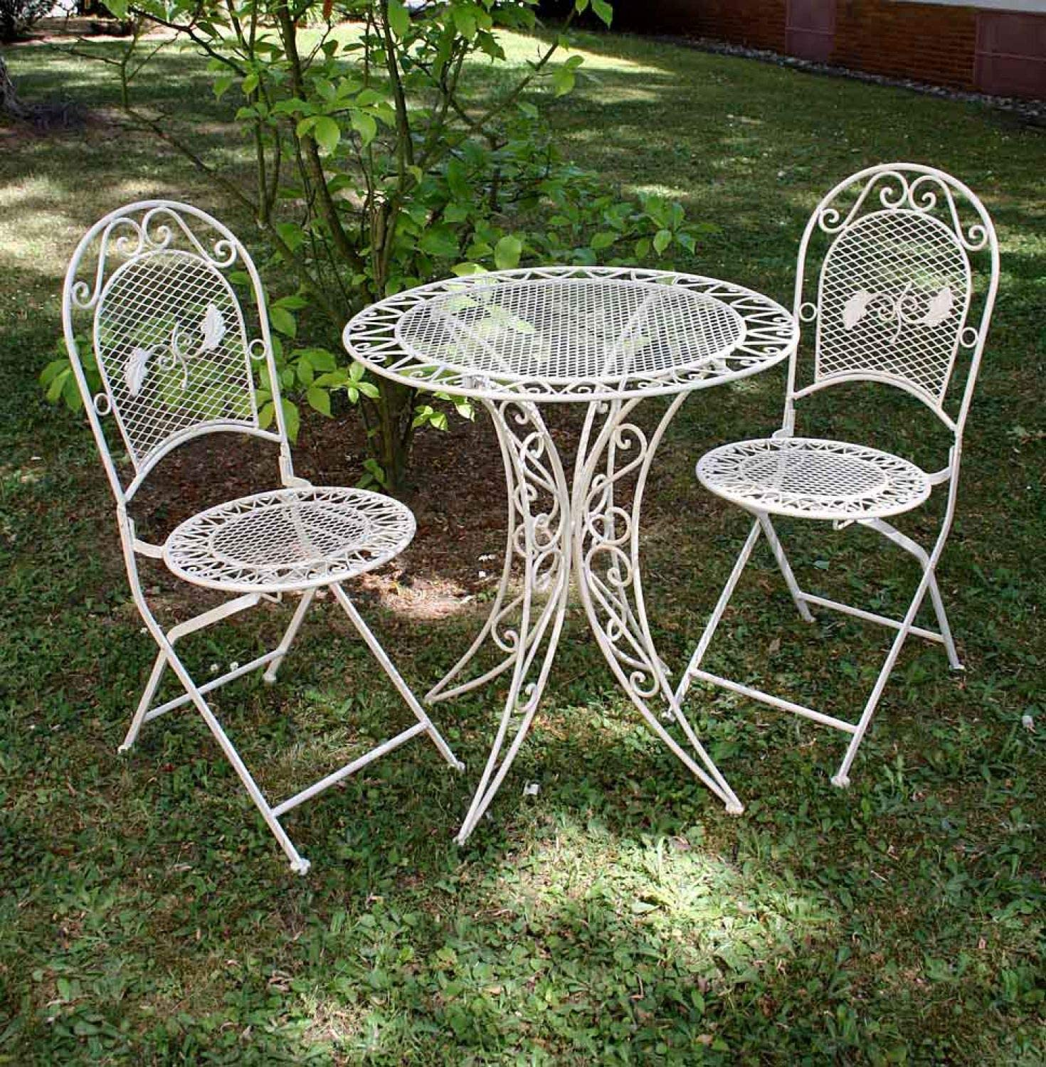 Aubaho Vintage Garden Furniture Set Table 2 Chairs Wrought Iron Cream White Amazon Co Uk Garden Outdoors