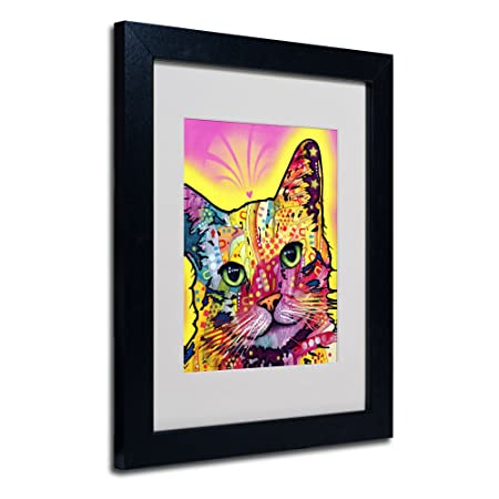 Tilt Cat Matted Artwork by Dean Russo with Black Frame, 11 by 14-Inch