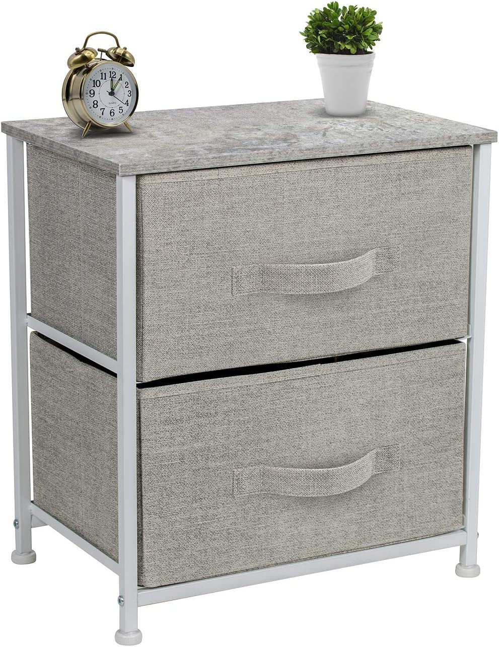 Sorbus Nightstand with 2 Drawers – Bedside Furniture Night Stand End Table Dresser for Home, Bedroom Accessories, Office, College Dorm, Steel Frame, Wood Top, Easy Pull Fabric Bins Gray