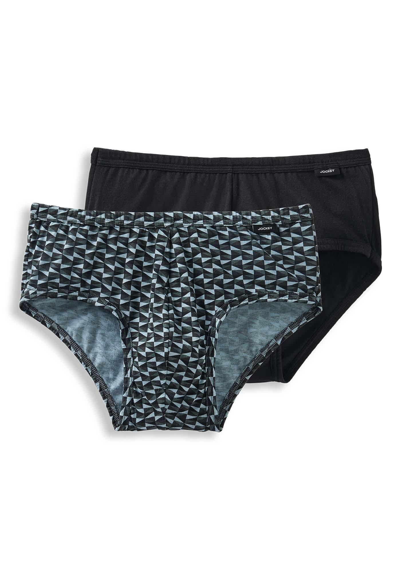 Jockey Men's Underwear Elance Poco Brief - 2 Pack, Sail Away Geo Grey/Black, L