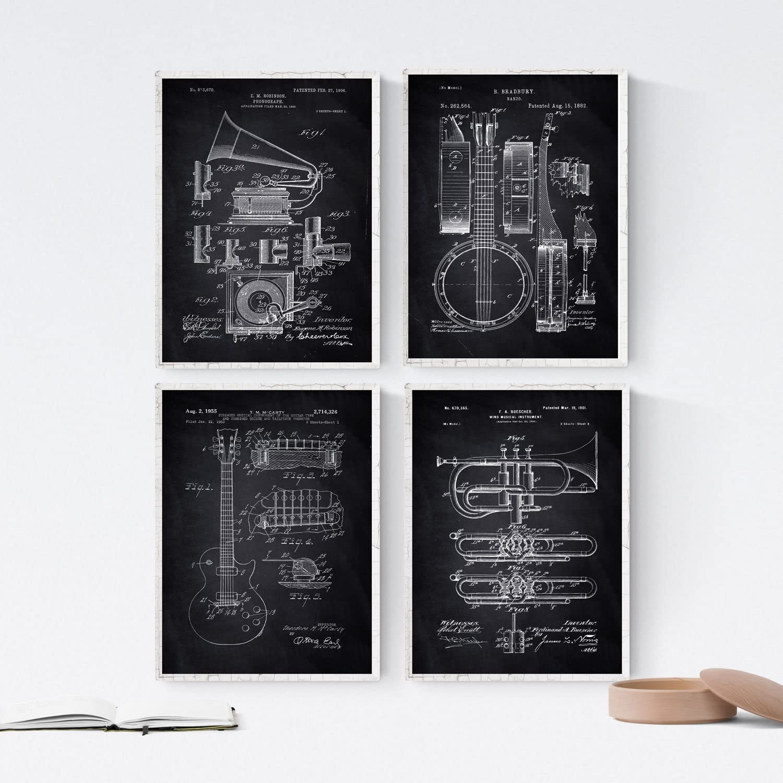 Nacnic Negro - Pack de 4 Láminas con Patentes de Música. Set de Posters con inventos y Patentes Antiguas. Elije el Color Que Más te guste. Impreso en Papel de 250 Gramos