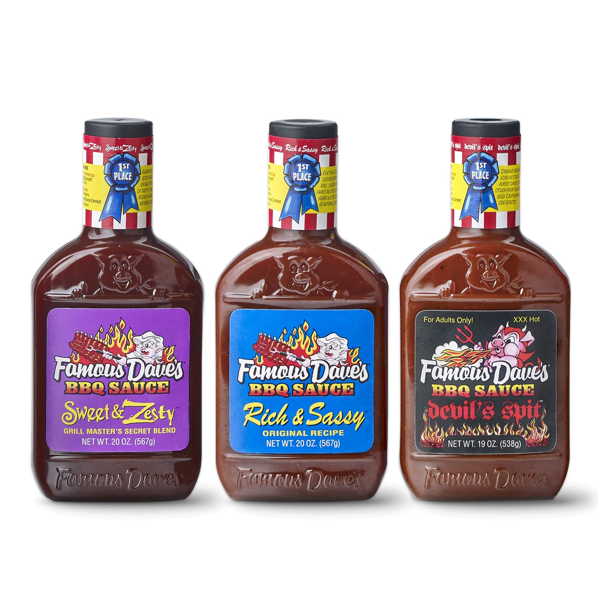 Famous Dave's BBQ Sauce Variety Pack, Devil's Spit, Sweet & Zesty, and Rich & Sassy, Set of 3