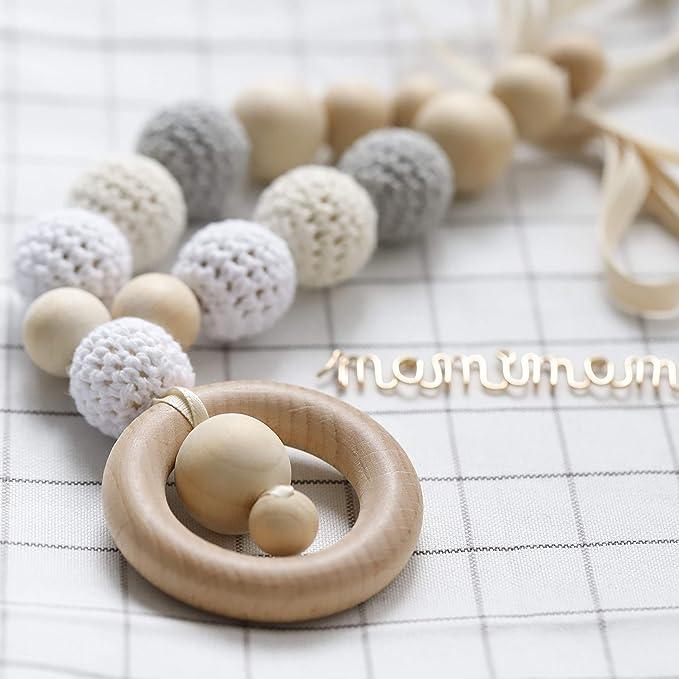 Mamimami Home Bebé Teethers de madera Hilo de ganchillo Perlas masticables Accesorios para bebés Juguetes de dentición