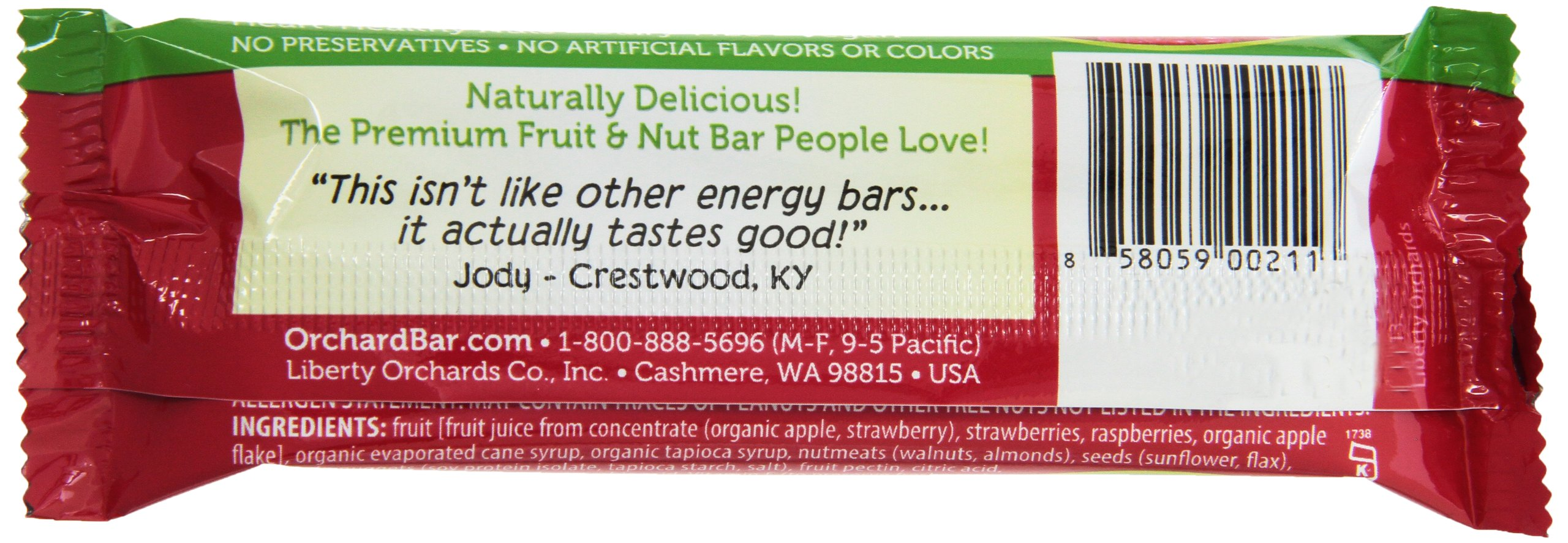 Orchard Bars Fruit and Nut Bar, Strawberry/Raspberry/Walnut, 1.4 Ounce (Pack of 12) by Orchard Bars (Image #4)