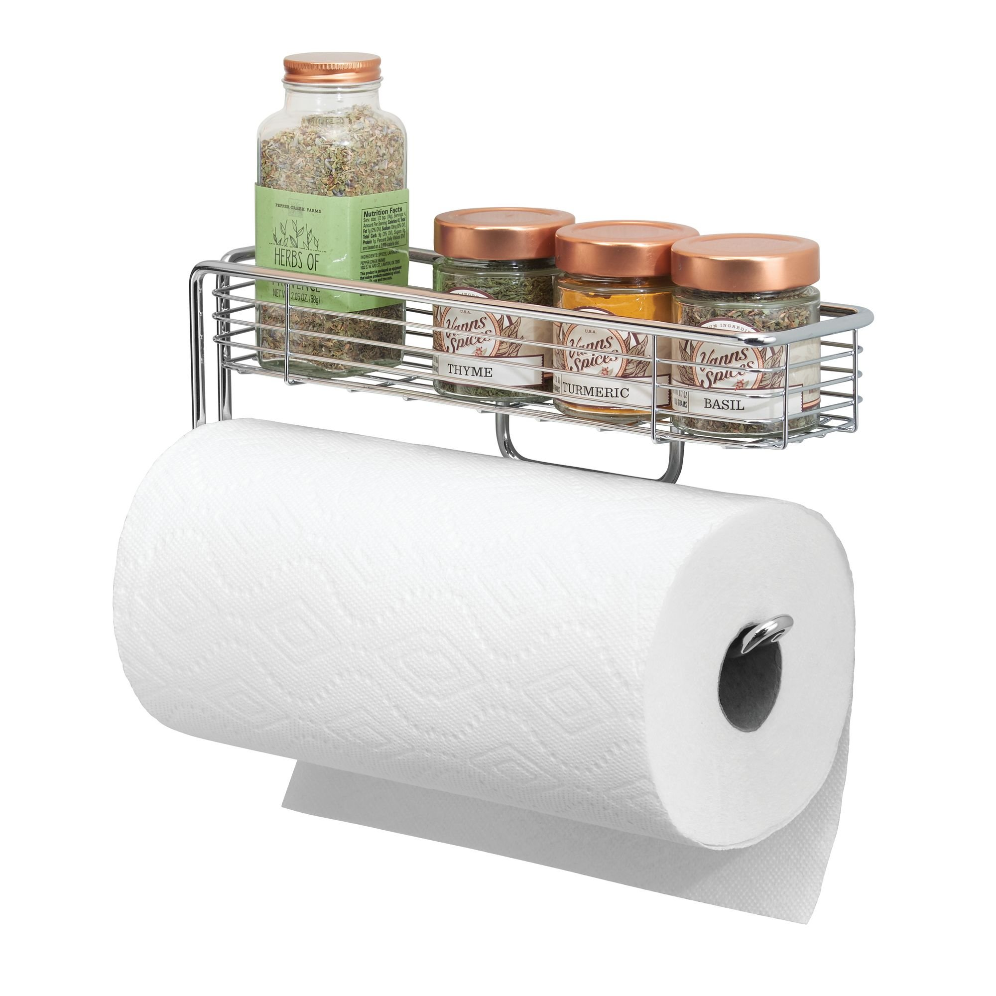 mDesign Wall Mount Paper Towel Holder with Storage Shelf for Kitchen, Pantry, Laundry, Garage Organization - Strong Steel Wire with Chrome Finish