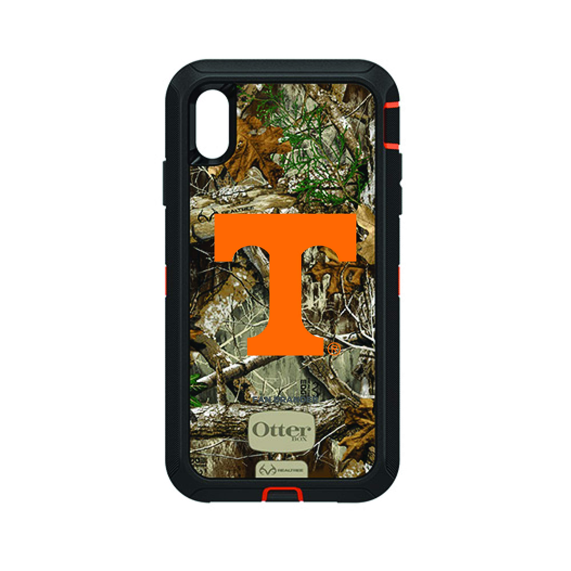 Fan Brander NCAA Black Phone case with Realtree Background, Compatible with Apple iPhone Xs Max and with OtterBox Defender Series (Tennessee Vols)