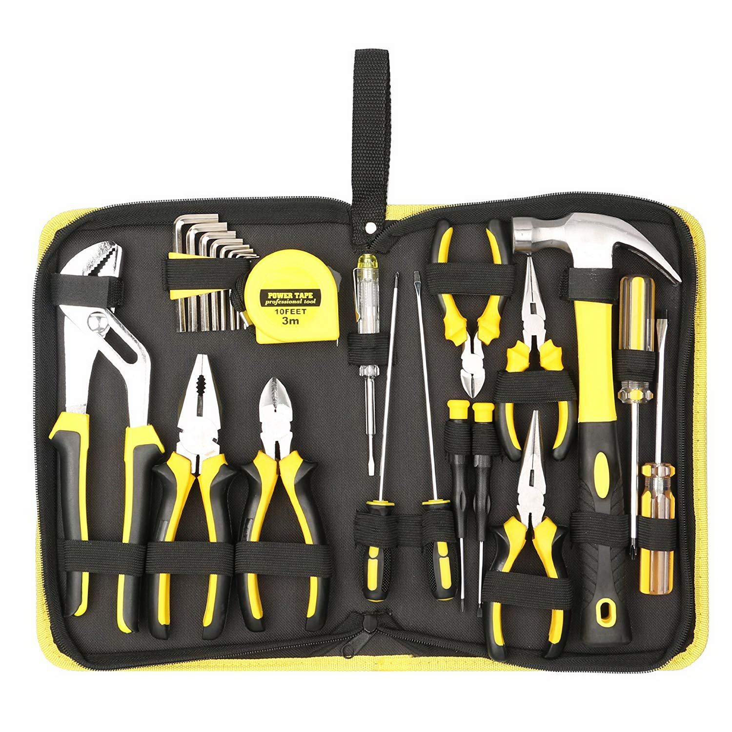 Tool Kit. Best Portable Small Basic Starter Professional Household DIY Hand Mixed Repair Set W/Storage Tool Bag For Home, Garage, Office For Men&Women. Includes Screwdriver, Wrench, Pliers, Etc.