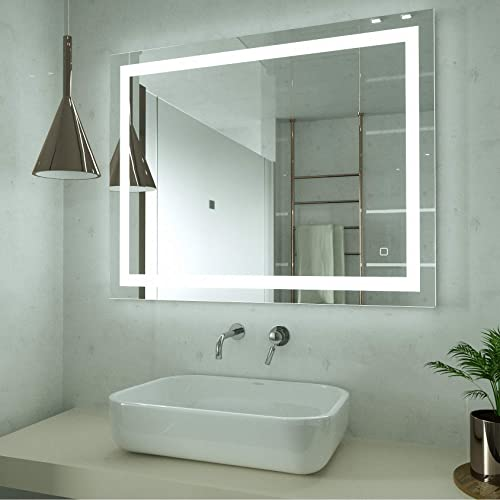 HAUSCHEN 32 x 40 inch LED Lighted Bathroom Wall Mounted Mirror with 3000K High Lumen CRI 90 Warm White Lights and Anti Fog and Dimmable Memory Touch Button IP44 Waterproof Vertical Horizontal