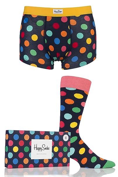 Happy Socks - Big Dot Calcetines - Hombre Trunk - Combo Caja - Lunares - algodón