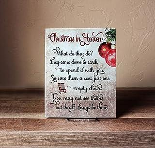 """Targa in ceramica con poesia in lingua inglese """"Christmas in Heaven"""", con scritta in lingua inglese """"What do They Do"""", idea regalo di Natale (lingua italiana non garantita)"""