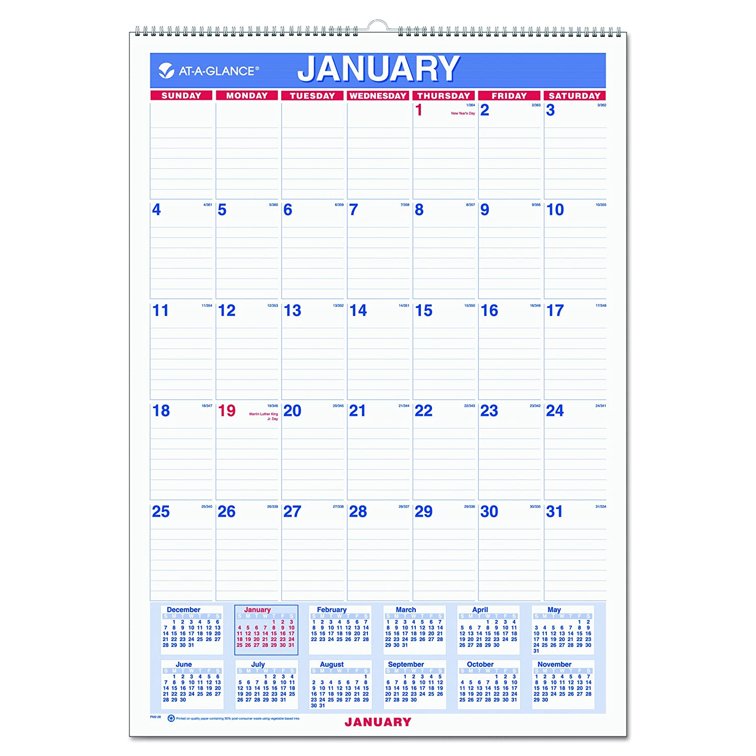 amazoncom at a glance wall calendar 2017 monthly 12 x 17 ruled wirebound pm2 28 office calendars planners and accessories office products