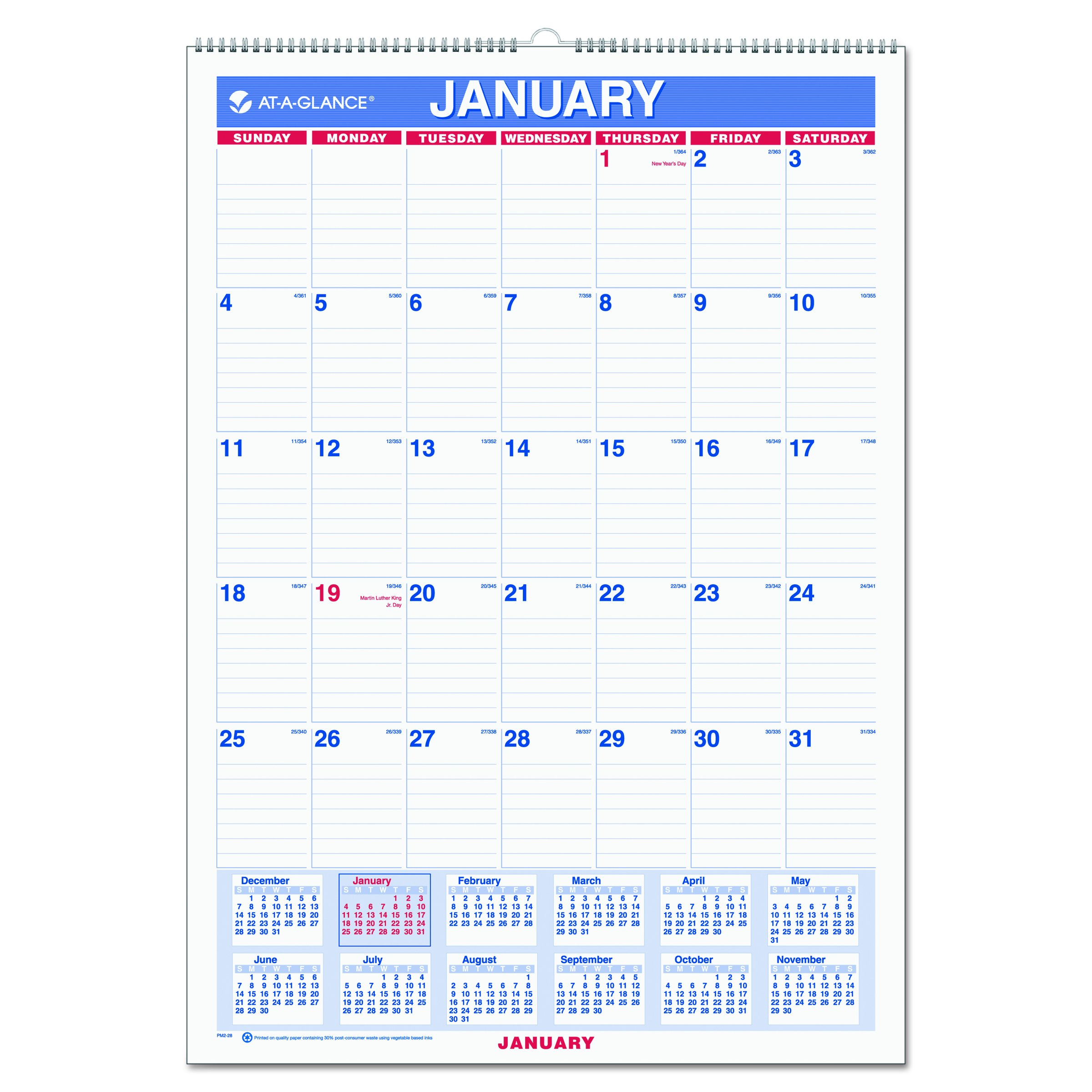 AT-A-GLANCE Wall Calendar 2017, Monthly, 12 x 17'', Ruled, Wirebound (PM2-28)
