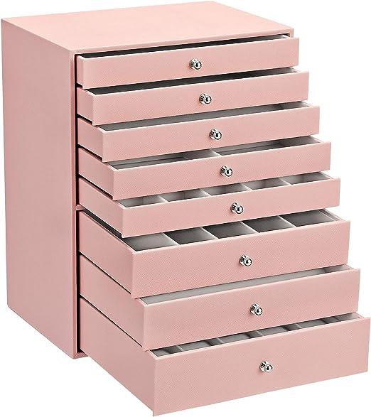 SONGMICS Joyero, Caja de Joyas, Estuche Grande de 8 Niveles, Ideal para Collares, Pendientes, Gafas de Sol, Pulseras, Relojes, Rosa Claro JBC11PK: Amazon.es: Hogar