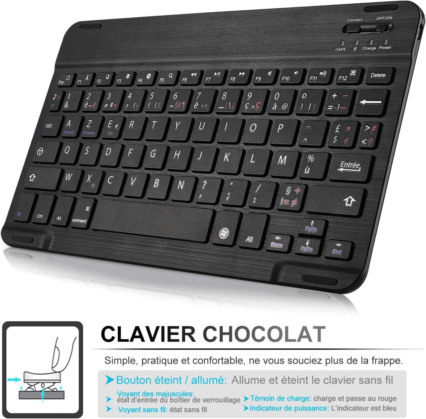 ELTD Clavier Étui pour Samsung Galaxy Tab A 10.1 2019 T510/515,[AZERTY], Détachable Wireless Clavier Keyboard Stand PU Case Housse, Noir A 10.5-No Backlight