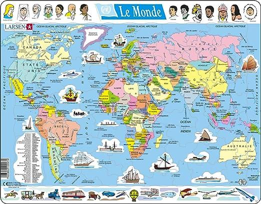 Larsen K1 El Mapa político Mundial, edición en Alemán, Puzzle de Marco con 107 Piezas: Amazon.es: Juguetes y juegos