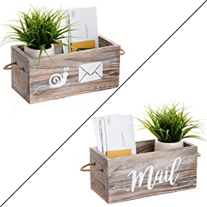 MAINEVENT Rustic Mail Organizer - Decorative Wooden Mail Holder, Mail Organizer Countertop Storage Box, Office Desk Organizer, Rustic Farmhouse Decor for The Home (Whitewashed)