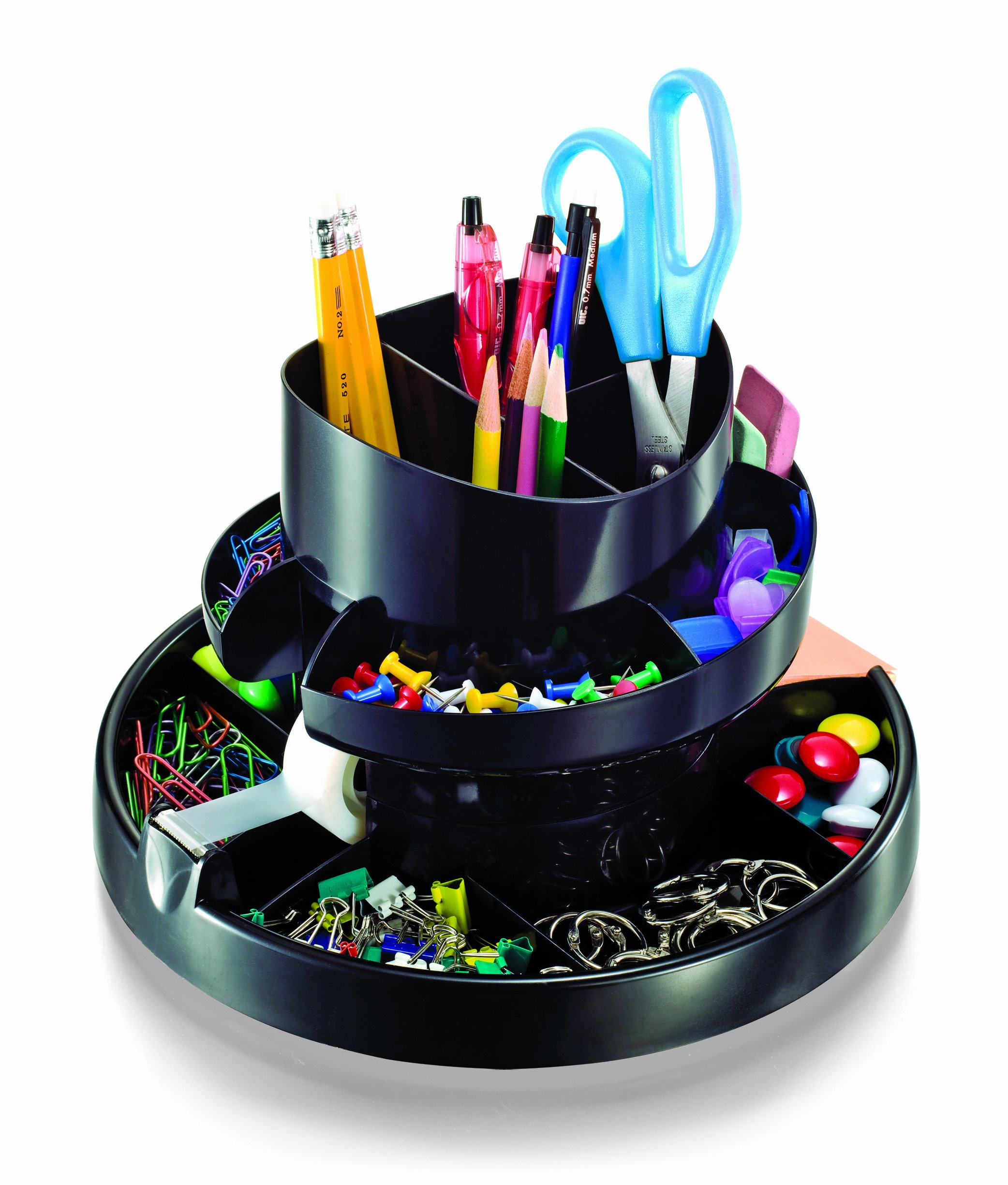 Officemate Deluxe Rotary Organizer, 16 Compartments, Recycled, Black (26255) by Officemate